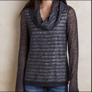 MOTH Cowl Neck Stripe Alpaca Layered Gray Sweater